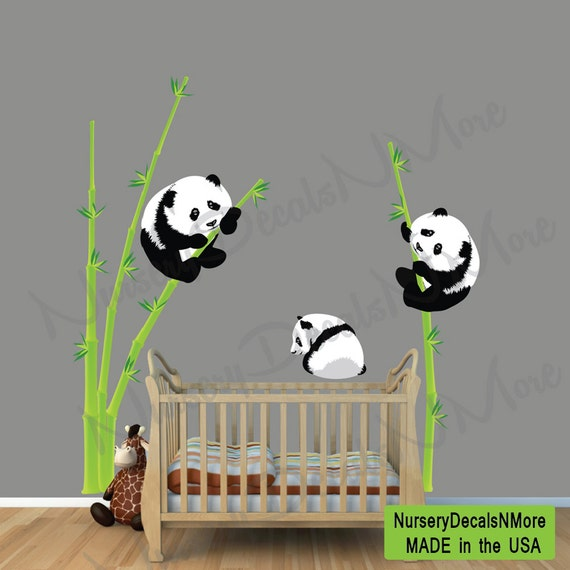 panda bear wall decal bamboo wall sticker by panda laid down bamboo wall art stickers transfers ebay