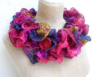 Ruffled Cowl in Goreous Colors with a Sparkle