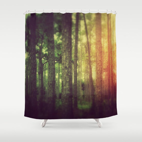 Items Similar To Shower Curtain Black Forest Rainbow Boho