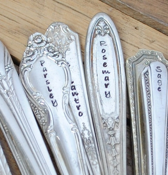 Set of ten 10 vintage herb garden markers by thefyshstore - Handmade gs silverware ...