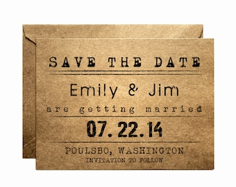 Rustic Save the Date card - Save the date - Handmade - Kraft Save the Date -  Sample listing
