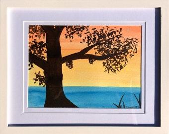 Orange Sunset - Original Framed Watercolour Painting