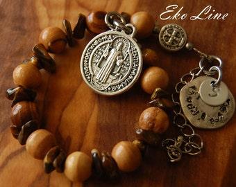 Baptism Gifts for Godparents. Olive Wood Rosary-Bracelet. Catholic Baptism. Jerusalem Olive Wood. Hand Stamped. Gift For Godparents.
