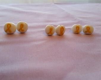 Yellow Ribbon Stud Earrings