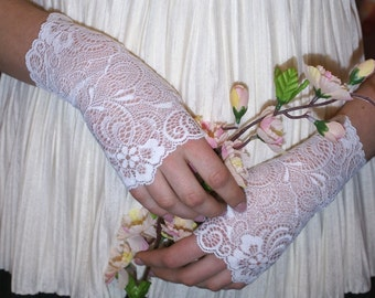 Women Lace Bridal Gloves White Flowers Lace Fingerless Gloves Floral White Stretch Lace White Bridesmaid