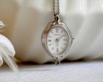 Watch Necklace, Pendant Watch Necklace, 1970's Vintage, Antique Watch Necklace
