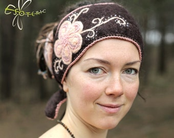 Monique Felted Hairband in Chocolate Brown with Pale Pink, Soft Pink and Lavender