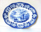Oval Serving Platter in the Lochs Of Scotland-Blue Pattern by Royal Warwick, Vintage
