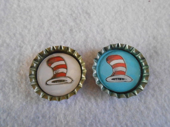 Cat in the hat bottle cap jewelry by hopesbeadsnmore on etsy for Cat in the hat jewelry