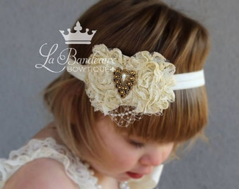 Vintage Shabby Flower Headband, Infant Headband, Girls Headband, Toddler Headband, Photo Prop