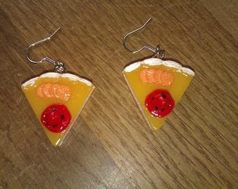 Cute and funny kawaii food pie earrings