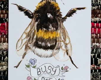 Busy Bee Note Card / Blank Greetings Card