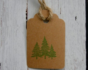 Primitive Rustic Cabin Nature Hang Tag Gift tag Craft supply Kraft Cardstock Evergreens Minimalist Three Pine Trees Kraft Cardstock 25 Tags