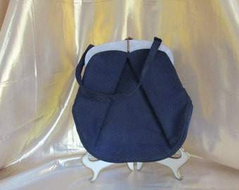 Vintage Navy Blue Handbag with Mother of Pearl Accent