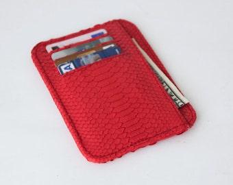 small wallet / card holder -  Red Python Snake skin