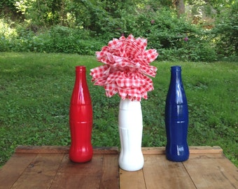 Red White Blue Coca-Cola Fourth of July Bud vase tall Coke bottles