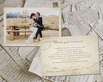 "50 Wedding Thank You Card - Campeaux Vintage Photo Personalized 4""x6"""
