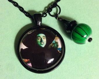 Wicked Witch Necklace, wizard of oz jewelry, wizard of oz, wicked witch, wicked, witch, elphaba, movie jewelry