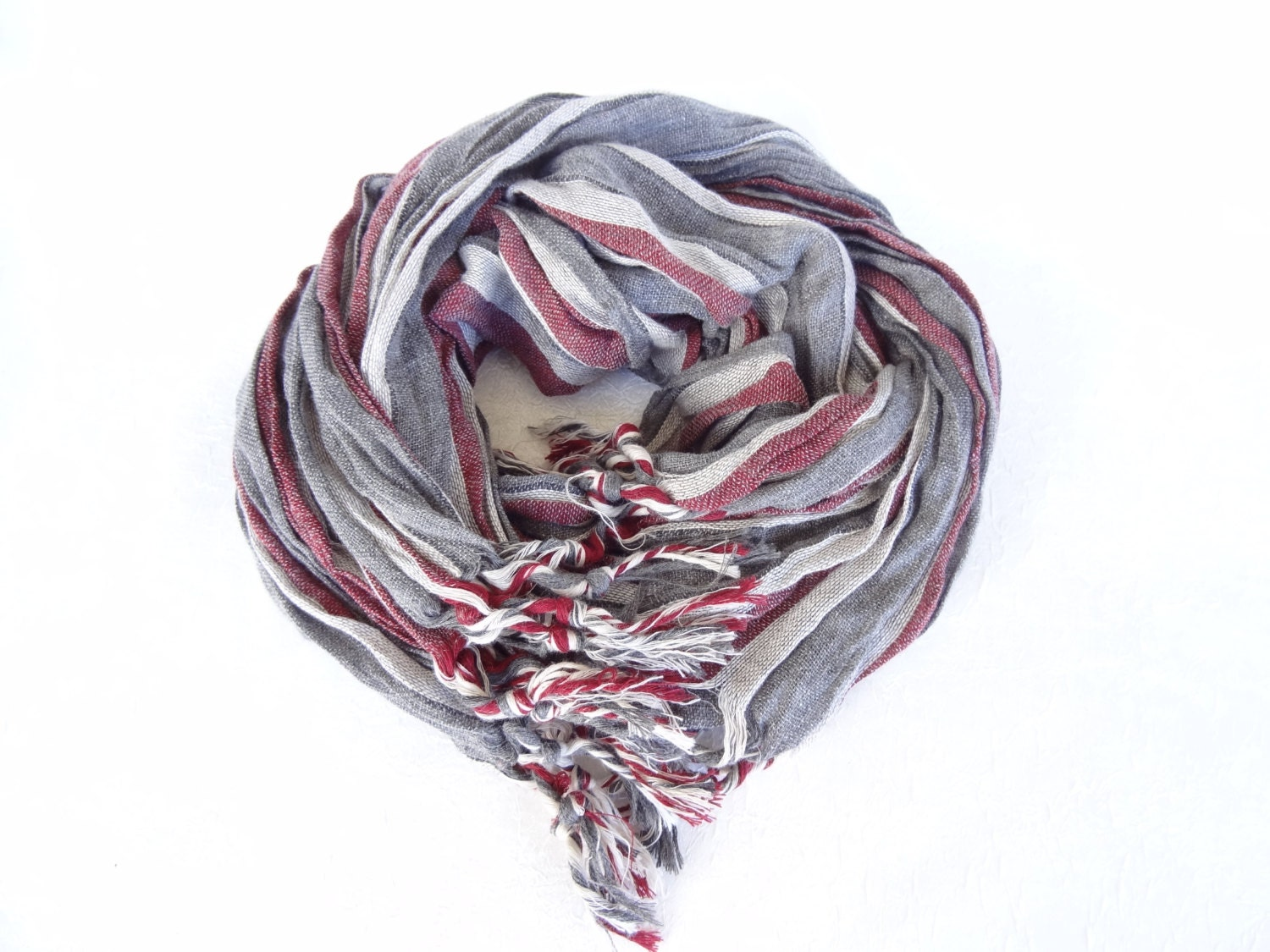 handwoven multicolored scarf greyburgundywhite striped