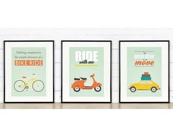 Retro poster, A3 set, bike, vespa scooter, vw beetle, mid-century design, Scandinavian design, print, inspirational vintage poster
