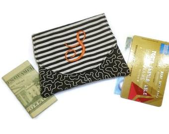 Personalized striped small wallet, travel wallet, black & white wallet, monogram wallet, women wallet, handmade gift idea