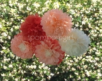 PEACHY / 12 Tissue Paper Pom Poms// Baby Shower, Birthday, Wedding, Bridal Shower, Nursery Decor