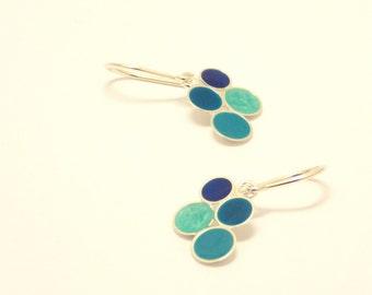 Summer Earrings - Silver  earrings - Sterling Silver Earrings - Blue - Sea - Summer - Dots -  Bubble earrings -handcrafted jewelry