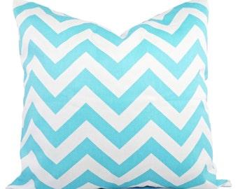 2 Chevron Decorative Pillow Covers Teal and White - Aqua Throw Pillow Cushion Cover Accent Pillow - 12x16 12x18 14x14 16x16 18x18 20x20