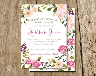 Garden Party Hand-drawn Floral Frame Bridal Shower Invitation