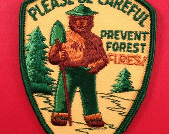 Used Smokey the Bear Please Be Careful Prevent Forest Fires Vintage Patch