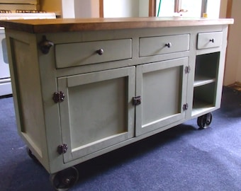 Beautiful Industrial Farmhouse, Solid Wood, Sage And Antique Copper Kitchen  Island