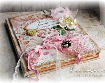 CUSTOM Luxury Handmade Pink and Gold WEDDING Guest Book Vintage Shabby Chic style with personalisation