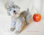Steiff Poodle Snobby, 1954-1963, vintage fully jointed swivel head 9 inch mohair dog, modern trim poodle, glass eyes, fine condition