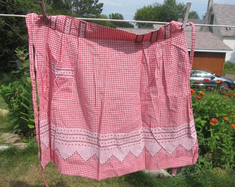 Red and White Gingham Vintage Apron