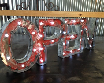 Lighted Open Sign, Rusted Recycled Metal Vintage
