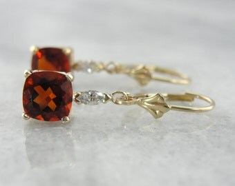 Bright Red Garnet and Marquise Diamond Earrings in Warm Yellow Gold X26KHU-P