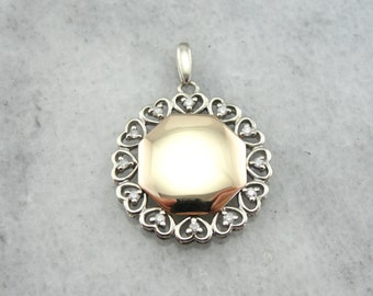 Signet Pendant in Yellow and White Gold with Diamond Studded Filigree Frame 59T53K-P