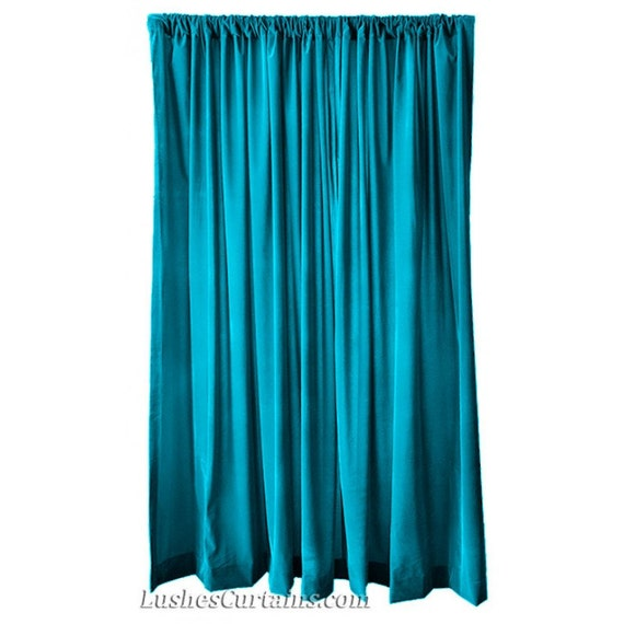 Turquoise velvet 120 inch curtain long panels wide beautiful for 120 inch window sheers