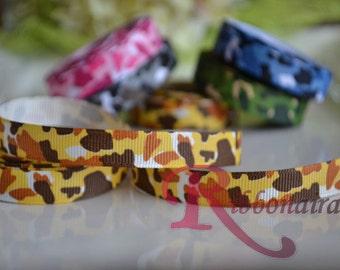 3/8 printed grosgrain camo print animal - Yellow -Brown -orange