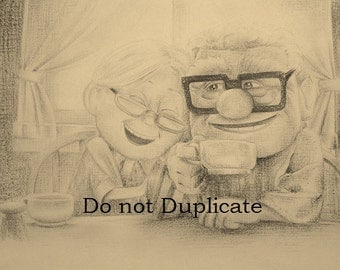 Carl and Ellie from Disney's Pixar's UP 11 x 17 colored pencil print