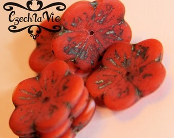 Czech Glass Flower Beads 23mm - Red Matte Picasso (924)