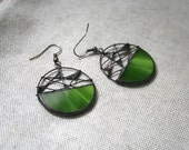 Unique green earrings, Statement jewelry, Wire Mesh jewelry