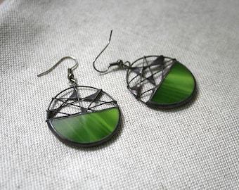 Unique green earrings, Statement jewelry, Wire Mesh jewelry