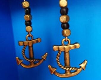 Black & Gold Anchor Earrings