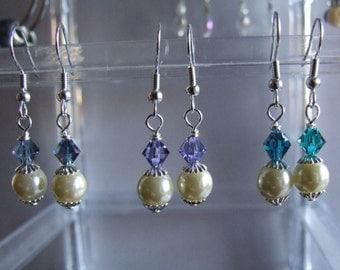 Pearl and crystal dangle earrings  0624EA