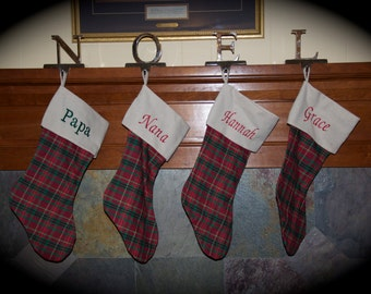 Personalized Plaid Christmas Stocking