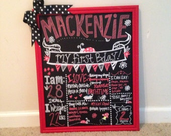 Lady Bug First Birthday Chalkboard Sign