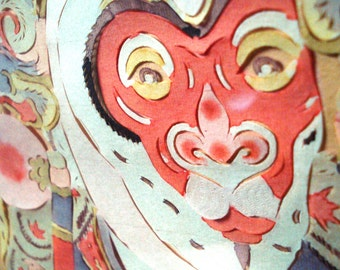 Paper Cut Picture Chinese Opera Mask Framed Vintage
