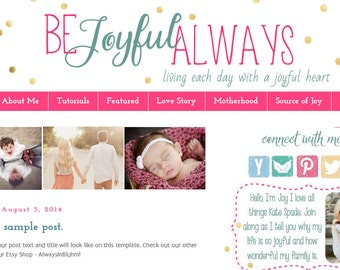 INSTANT DOWNLOAD - Premade Blogger Template - Joyful