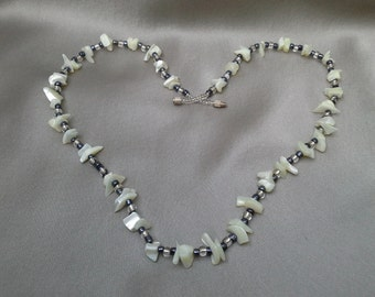 Natural Shell Necklace with Blue Black and Clear Beads: Boho Chic Vintage Treasures from the Sea